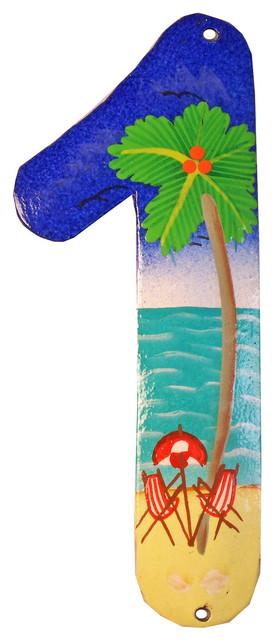 Tropical Beach House Numbers Haitian Metal Art Number 1.
