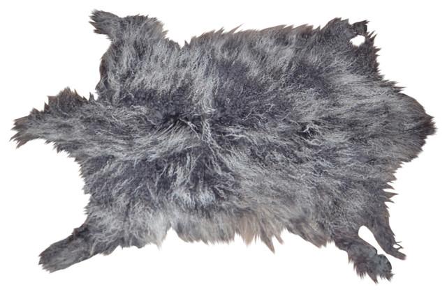 Genuine Tibetan Mongolian Lamb Fur Pelt Frosted Grey