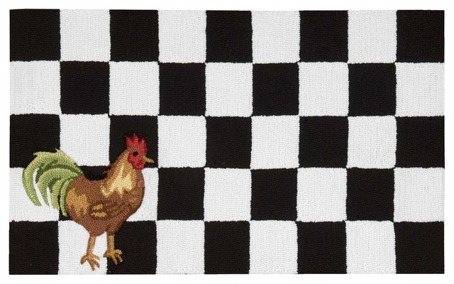 Everywhere Rooster Accent Rug Black White 1 8 X2 6 Farmhouse