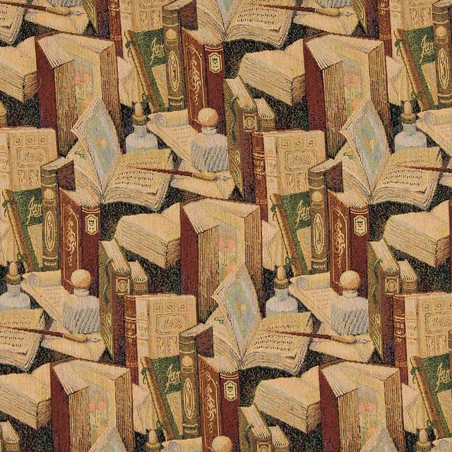 Classic Books Writing Utensils Themed Tapestry Upholstery Fabric By The Yard