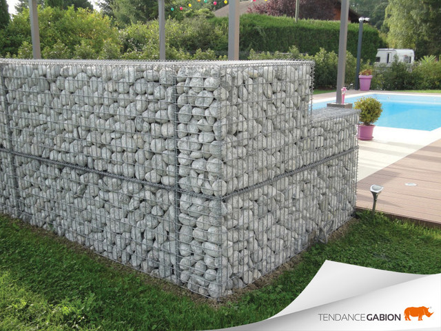 Mur d co en gabion contemporain jardin grenoble for Decoration jardin gabion