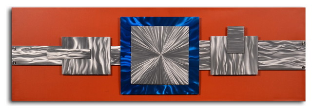 """Handcrafted """"Dimensional metal geometrics"""" Metal on Hand Painted Canvas"""