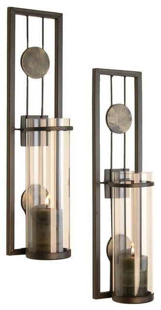 Beau Contemporary Metal Wall Sconces, Set Of 2 Transitional Candleholders