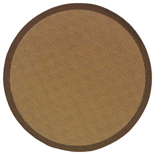 "Oriental Weavers Lanai 525d7 Beige/brown Border Area Rug, 7&x27;10"" Round."