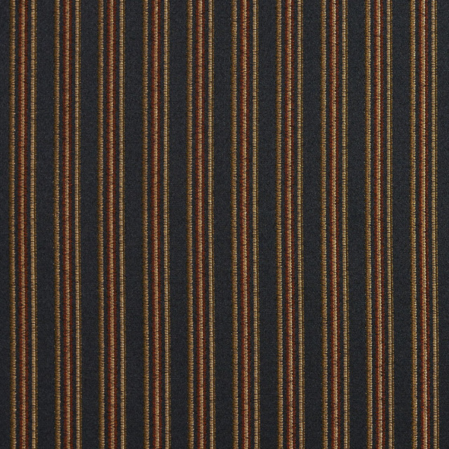 Black Gold Green Orange Striped Damask Upholstery And Drapery Fabric
