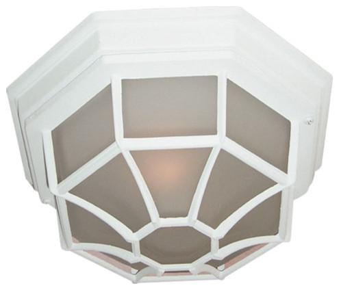 "Basic Flush Close To Ceiling Outdoor Light, Powder Coat White, 10.5""x4.75""."