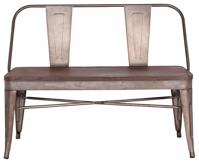 Sensational Industrial Antique Bench With Wood Seat Panel And Metal Backrest And Legs Evergreenethics Interior Chair Design Evergreenethicsorg