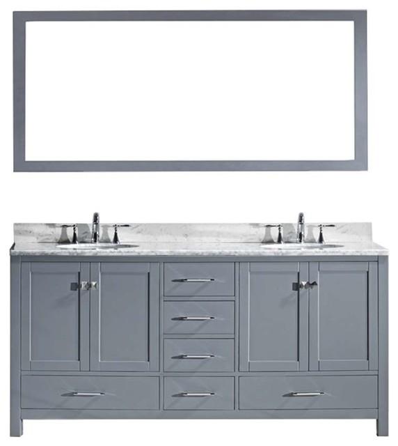 Caroline Avenue 72 Double Bathroom Vanity Set Gray, Marble Top.