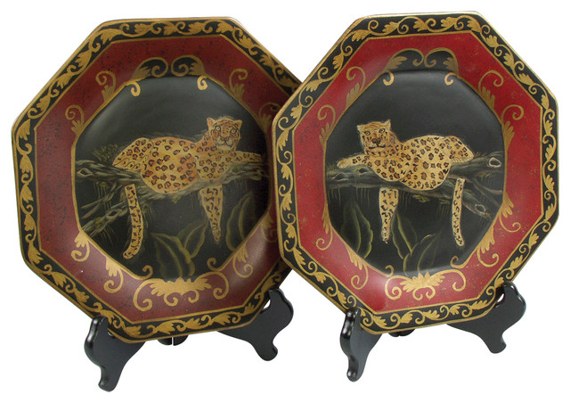 Leopard Plates And Plate Stands Set Of 2 Traditional Decorative Plates By Orchard Creek Designs