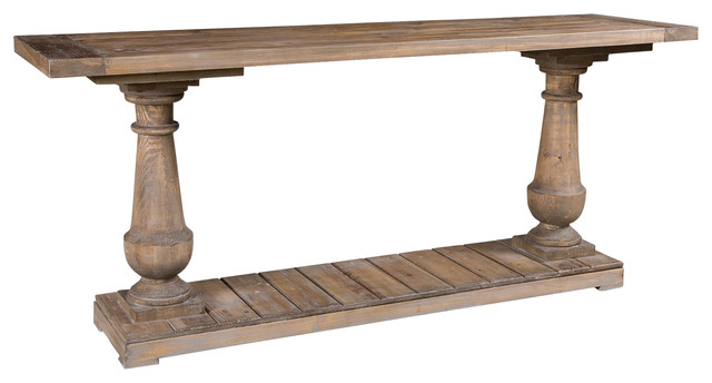 Gamble Rustic Lodge Salvaged Fir Stone Wash Console Table Transitional  Console Tables