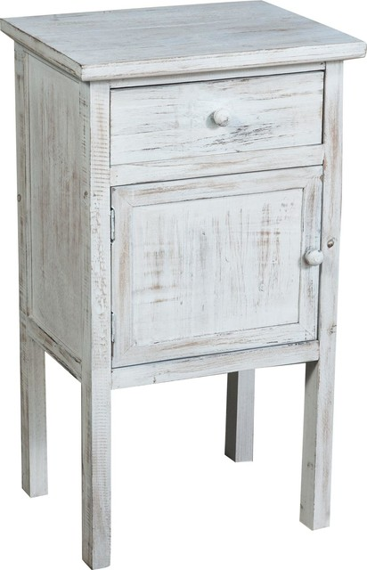 Shabby Chic Tall Bedside Table White