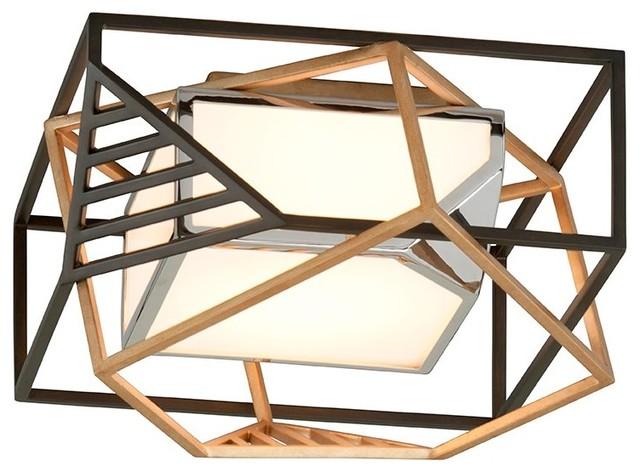 Troy Lighting Cubist 1-Light Ceiling Flush Mount, Bronze With Gold Leaf.