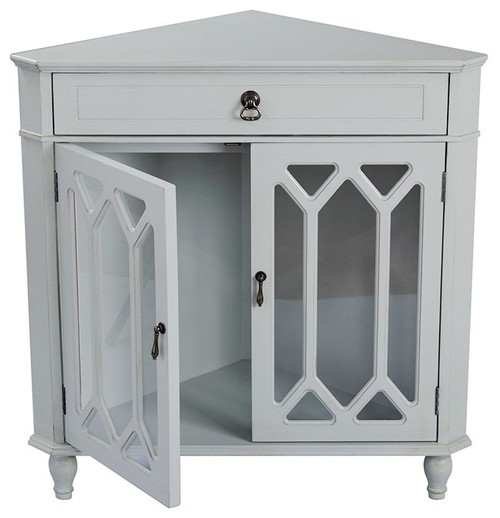 Corner Wooden Standard Accent Cabinet With 2 Door
