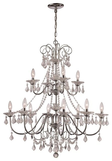 12 Light Chandelier in Polished Chrome with Crystal Glass