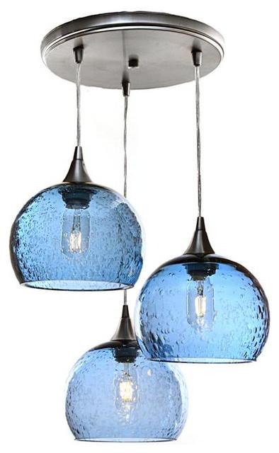 Lunar 3-Light Cascade Pendant No. 767, Blue Glass Shades