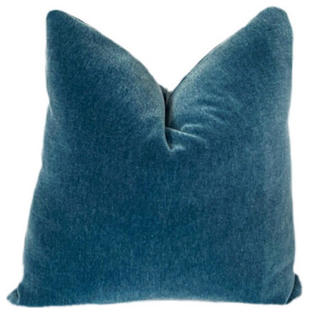 Pacific Blue Mohair Pillow Cover Contemporary Decorative Pillows By Swan Court