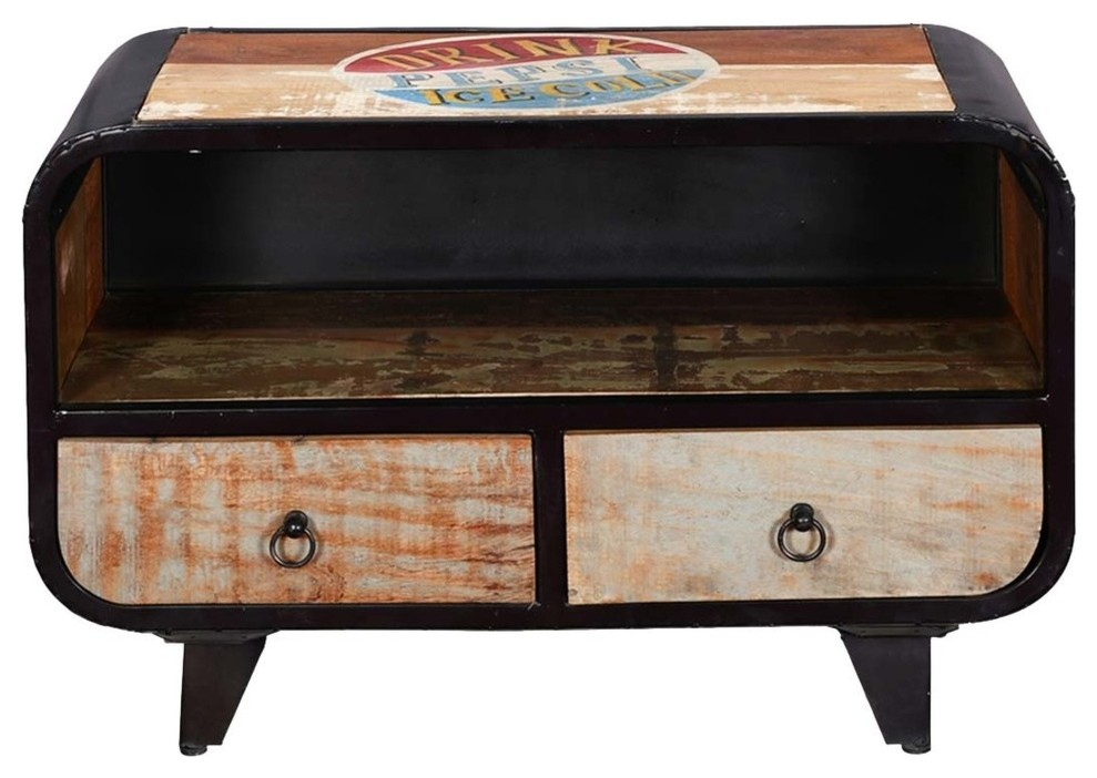 Retro Rustic Mango Wood Amp Iron Tv Accent Media Console