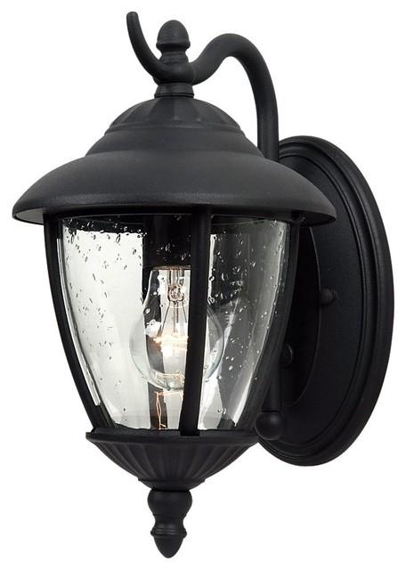 1-Light Outdoor Wall Lantern, Black.