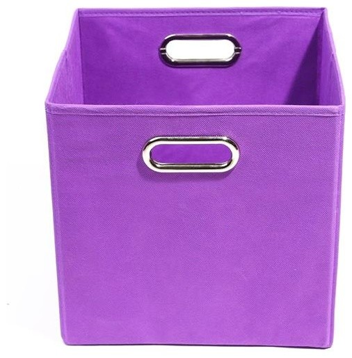 Color Pop Solid Purple Folding Storage Bin Contemporary Kids Benches And