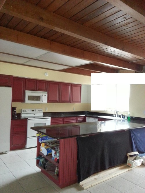 Need Kitchen Lighting For 1960s Wood Ceiling