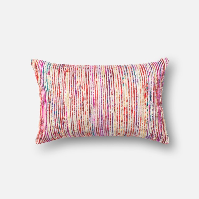 "Loloi Inc. Pillow, Red And Multi, 13""x21""."