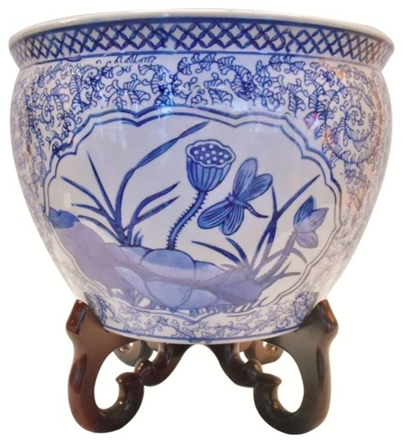 Blue And White Oriental Planters Indoor Outdoor Use