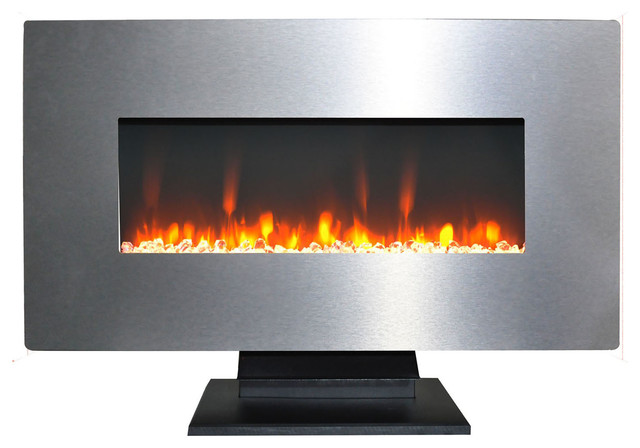 Cambridge 36 Wall Mount Free Standing Electric Fireplace W Crystals
