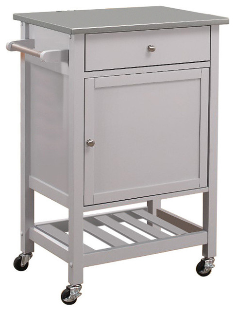 Kitchen Cart With Stainless Steel Top, Gray.