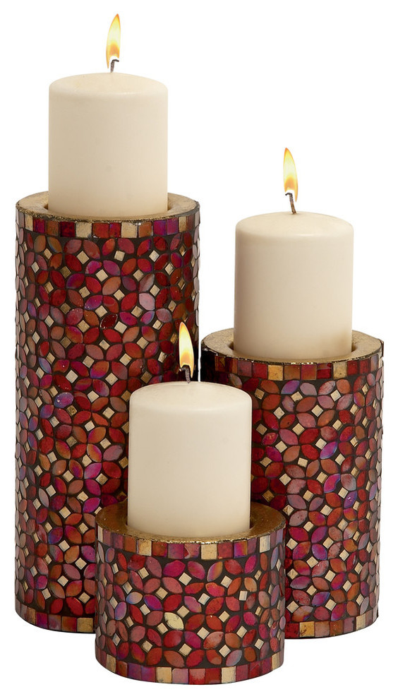 Metal Mosaic Candle Holders 3 Piece Set 11 7 4 Contemporary Candleholders By Gwg Outlet