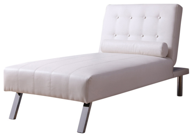 Button Tufted Back Convertible Chaise Lounger With Lumber Support Pillow, White.