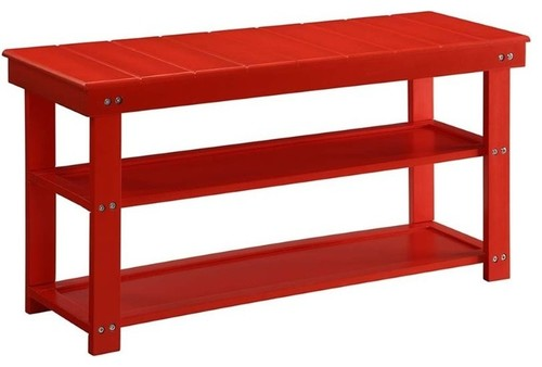 Pemberly Row Entryway Bench in Red