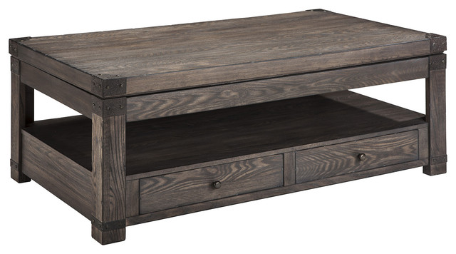 Burladen Rectangular Lift Top Cocktail Table In Grayish Brown T846-9.