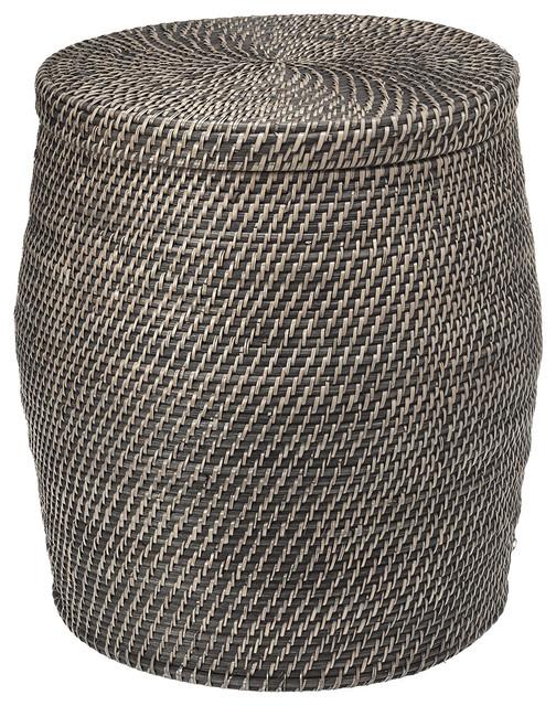Round Rattan Storage Stool Black Wash Tropical Accent