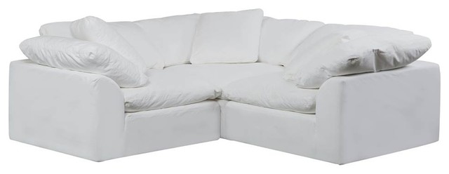 3-Pc Slipcovered Modular Sectional Small L Shaped Sofa Performance Fabric White
