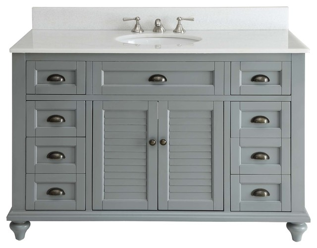 "Glennville Bathroom Vanity, Gray, 49"" - Farmhouse - Bathroom Vanities And Sink Consoles - by ..."