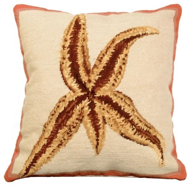 Starfish Needlepoint Down Throw Pillow.