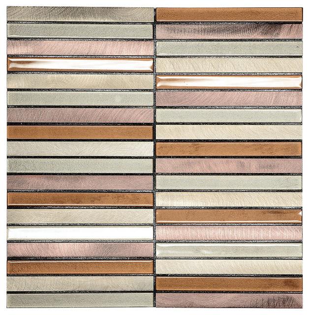 modern brown self adhesive glass metal backsplash tiles mosaic tile