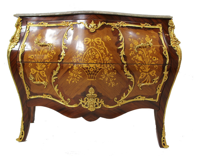 Home Decor Imports Bombay Marquetry 2-Drawer Ormolu Chest ...