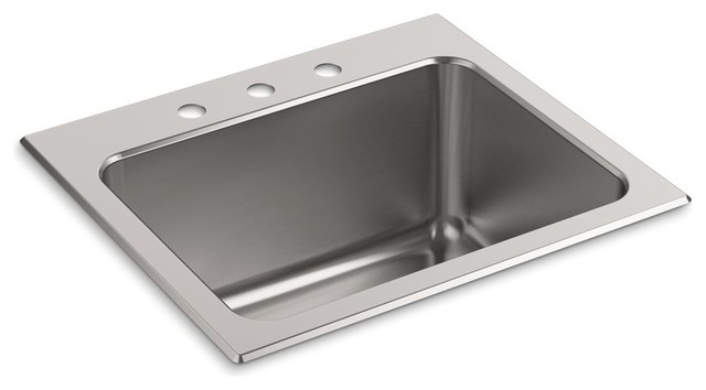 "Kohler Ballad Top-Mount Utility Sink With 3-Faucet Hole, 25""x22""x11.63""."