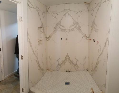 Merveilleux Dekton Book Matched Slab Shower Walls.