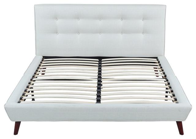 Midcentury Ivory Linen Low Profile Platform Bed Frame Full Midcentury Platform Beds By Sofamania
