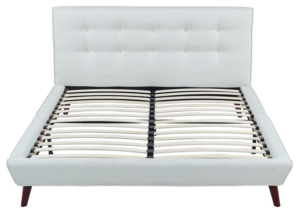 Midcentury Ivory Linen Low Profile Platform Bed Frame Midcentury