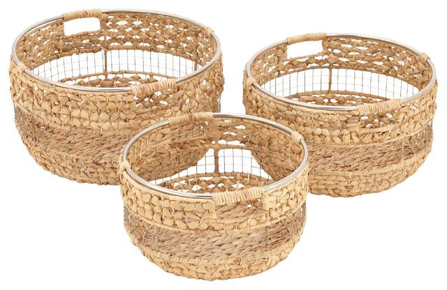 """Wicker Metal Basket, 14"""", 16"""", 18"""", 3-Piece Set"""