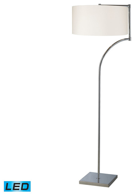 Lancaster Led Floor Lamp, Chrome With Milano Pure White Shade.