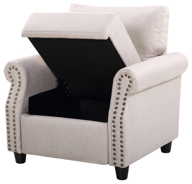 Classic Living Room Linen Armchair With Nailhead Trim And Storage Space,  Beige