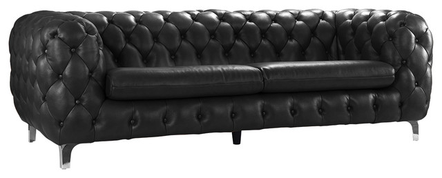 Modern Real Leather Tufted Chesterfield Sofa Couch With Built In Shelving E