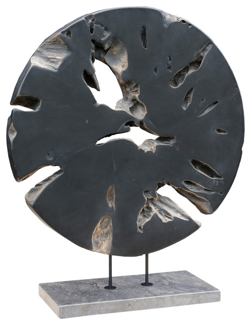 Round Teak Wood Art Weathered Gray Large