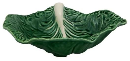 Bordallo Pinheiro Cabbage Leaf Ceramic Bowls, Set of 2