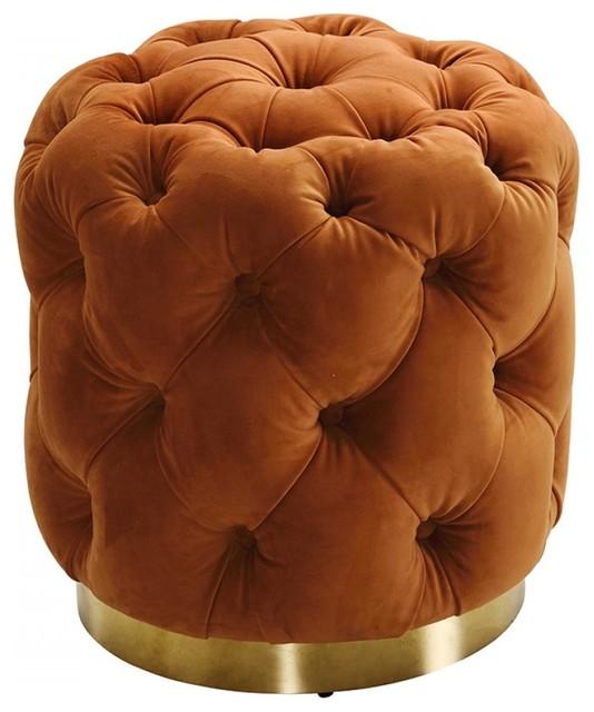 Fine Divani Casa Duarte Modern Orange Velvet Ottoman Andrewgaddart Wooden Chair Designs For Living Room Andrewgaddartcom