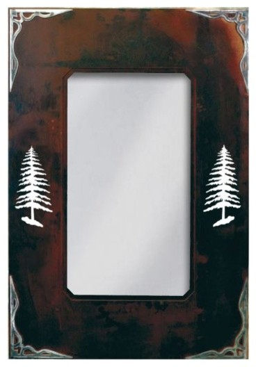 Wrought Iron Mirror With Burnished Pine Tree Motif, 25x36